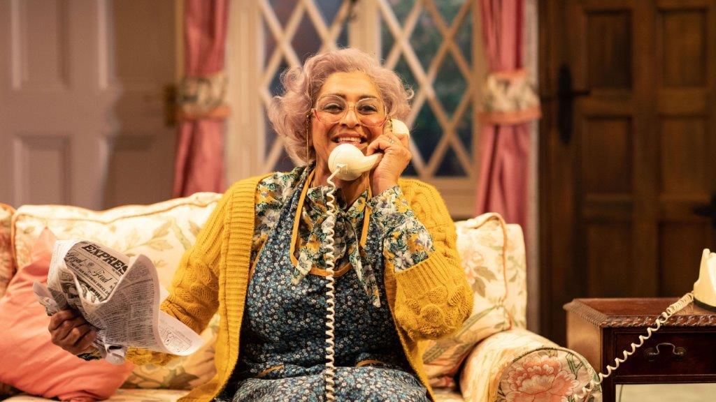 Meera Syal in Noises Off Lyric Hammersmith Credit Helen Maybanks