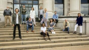The cast of Witness for the Prosecution and director Lucy Bailey at London County Hall. Photo by Ellie Kurttz